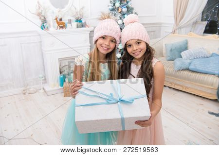 Time To Celebrate. Delivery Christmas Gifts. Happy Little Girls Sisters Celebrate Winter Holiday. Ch