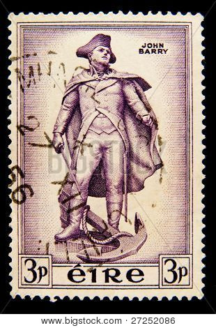 IRELAND - CIRCA 1956: A stamp printed in Ireland shows Commodore John Barry, circa 1956