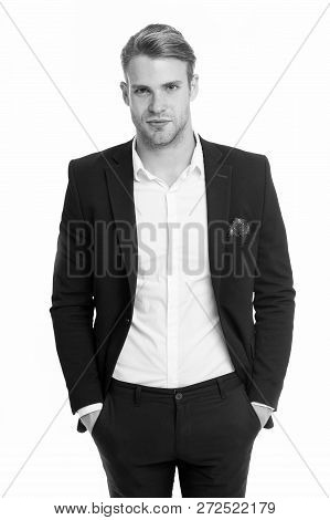 Ambitious Businessman Isolated On White. Ambitious Businessman In Formal Suit. All Is Possible For A