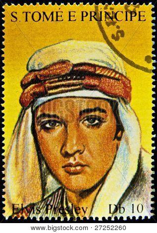 S.TOME E PRINCIPE - CIRCA 2005: stamp printed in S.Tome E Principe showing Elvis Presley - rock and roll singer, circa 2005. 9 stamps series