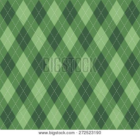 Christmas And New Year Argyle Plaid. Scottish Pattern In  Green Rhombuses. Scottish Cage. Traditiona