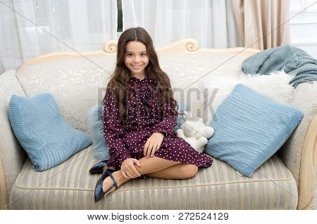 Kid Dreamy Sit Sofa Dreaming About Christmas Present. Winter Dream Concept. Christmas Eve Magic Time