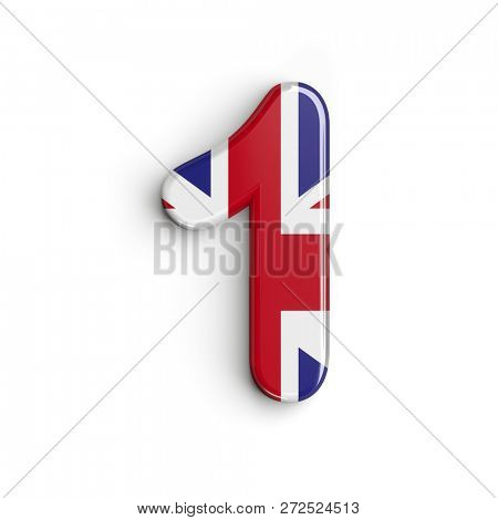 United kingdom number 1 - 3d british digit isolated on white background. This alphabet is perfect for creative illustrations related but not limited to United Kingdom, London, brexit...