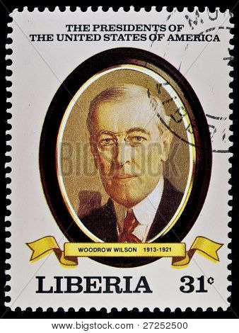 LIBERIA - CIRCA 2000s: A stamp printed in Liberia shows President Woodrow Wilson, circa 2000s.