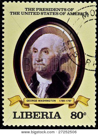 LIBERIA - CIRCA 2000s: A stamp printed in Liberia shows President George Washinton, circa 2000s.
