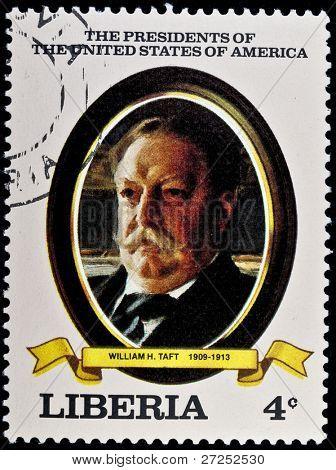 LIBERIA - CIRCA 2000s: A stamp printed in Liberia shows President William H. Taft, circa 2000s.