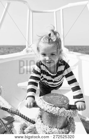 Mooring Ship. Child Cute Sailor Help With Ropes Yacht Bow. Adventure Boy Sailor Travelling Sea. Baby
