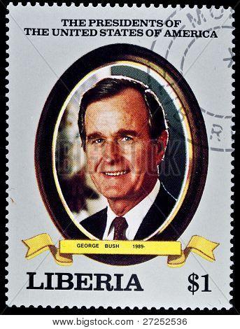LIBERIA - CIRCA 2000s: A stamp printed in Liberia shows President George Bush, circa 2000s.