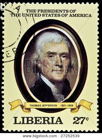 LIBERIA - CIRCA 2000s: A stamp printed in Liberia shows President Thomas Jefferson, circa 2000s.