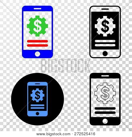 Geographic Collage Of Dotted Mobile Financial Options And Grunge Seal Stamp. Mosaic Vector Mobile Fi