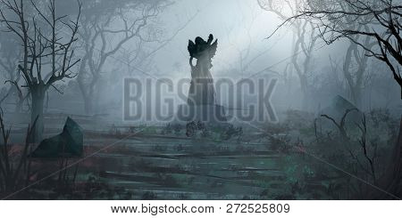 Forest Statues. Fiction Backdrop. Concept Art. Realistic Illustration. Video Game Digital Cg Artwork