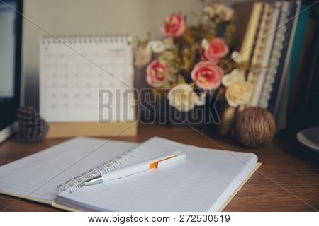 Desktop Calendar 2019 And Laptop Place On Office Desk.calender And Diary For Planner, Timetable,agen