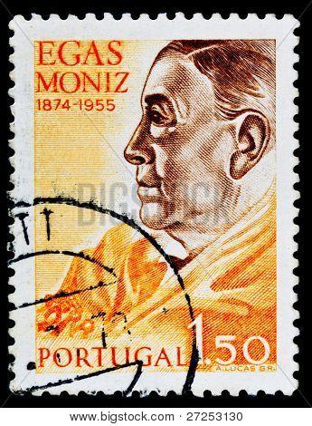 PORTUGAL - CIRCA 1990s: A stamp printed in PORTUGAL shows Antonio Caetano de Abreu Freire Egas Moniz: winner of the 1949 Nobel Prize in Physiology and Medicine, circa 1990s.