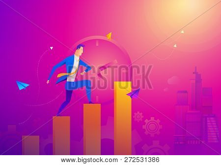 Business Concept As A Businessman Is Running On Growth Line Graph. He Is Enjoying The New Growth Of