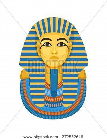 Golden Funerary Mask, Bust Of Pharaoh Of Ancient Egypt, Tutankhamen.