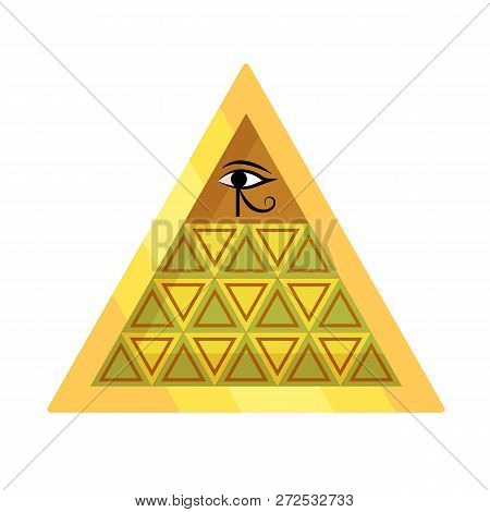 Ancient Egyptian Oracle Pyramid With Symbol Falcon Eye Of Horus.