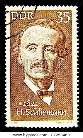 GERMANY - CIRCA 1972: stamp printed in Germany, shows Heinrich Schliemann, circa 1972.