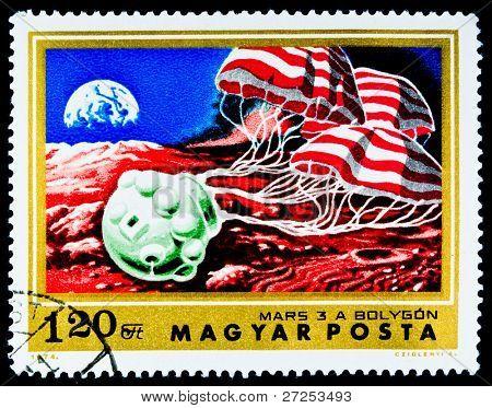 HUNGARY - CIRCA 1974: A Stamp printed in Hungary shows Satilite Mars-3, circa 1974