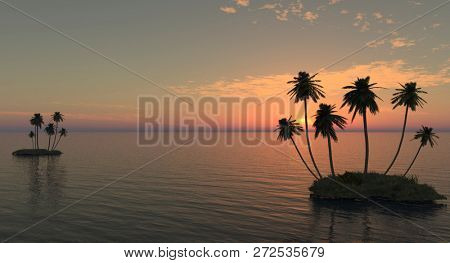 palms on the island against the sunset at the sea.3D illustration
