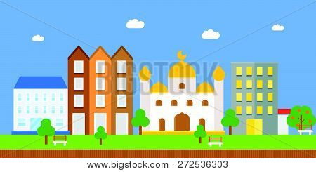 Landscape With Masjid And Building, Flat Icon
