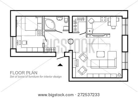 Architectural Plan Of A House. Layout Of The Apartment Top View With The Furniture In The Drawing Vi