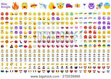 Big Set Of New Modern Emojis. Emoticons Flat Vector Illustration Symbols. All World Emotions In Yell