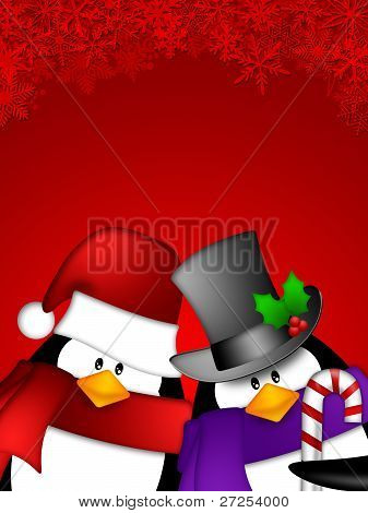 Cute Cartoon Penguin Couple on Red Snowflakes Background Illustration poster