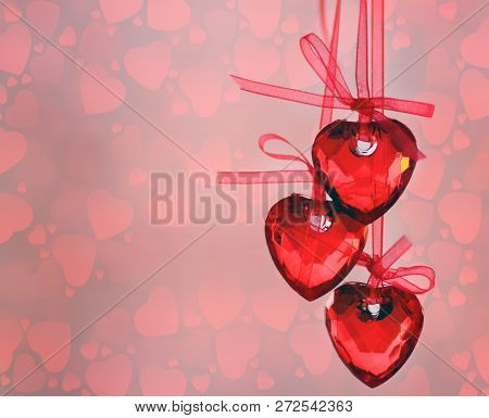 Valentine Hearts Background. Valentines Red Abstract Wallpaper. Backdrop Collage. St.valentines Day