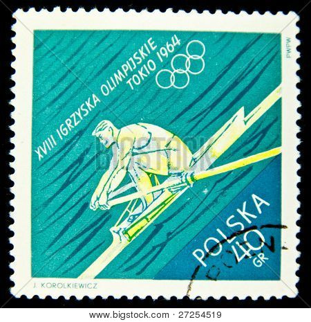 POLAND - CIRCA 1964: A stamp printed in Poland showing Olympic games in Tokio, circa 1964