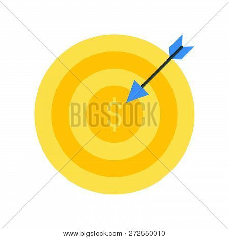 Arrow And Dartboard, Goal For Financial Success Concept, Bank And Financial Related Icon
