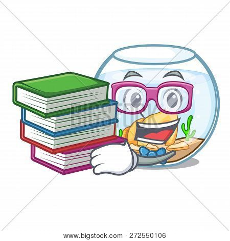 Student With Book Fishbowl In A Funny On Cartoon