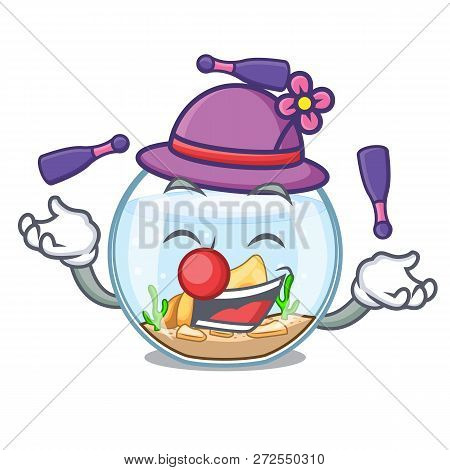 Juggling Fishbowl In A Funny On Cartoon