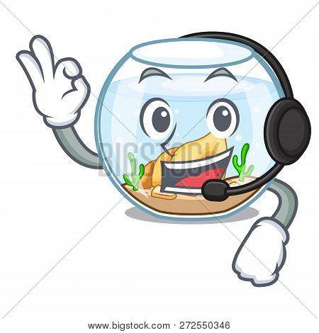 With Headphone Fishbowl In A Funny On Cartoon
