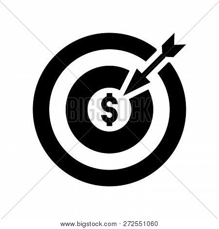 Arrow And Dartboard, Goal For Financial Success Concept, Bank And Financial Related Icon, Glyph Desi