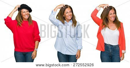 Collage of beautiful middle age woman over white isolated background confuse and wonder about question. Uncertain with doubt, thinking with hand on head. Pensive concept.