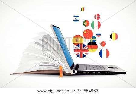 Laptop And Book As Online Dictionary - E-learning Online Language Learning System