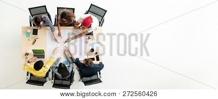 Header Or Banner Of Top View Of Creative Diverse People. Overhead View Of Young Creative Team, Start
