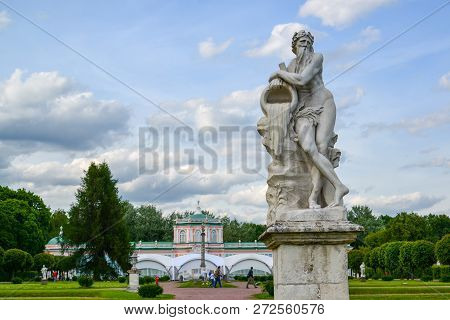 Allegory of god of river Scamander - sculpture in park Kuskovo of Moscow, beginning of XVIII century. Russia poster