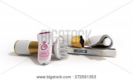 Set Of Equipment For Hair Care Hair Dryer Epilator Curling Iron Hair Straightener 3d Render On White