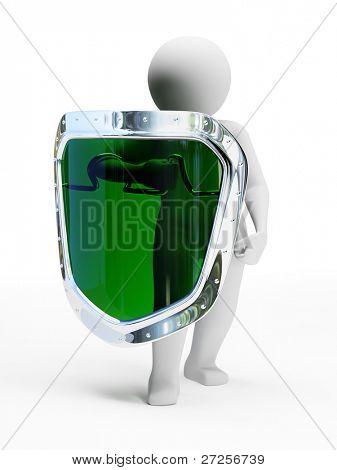 3D abstract persoon in pose van verdediger met schild geïsoleerd op witte achtergrond