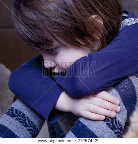 Portrait Of Little Cute Child Girl Expressing Sadness (gestures, Body Language, Facial Expressions,
