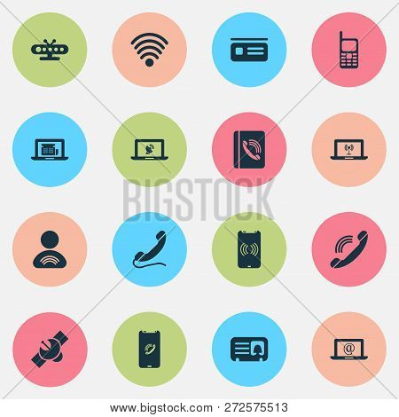 Telecommunication Icons Set With Letter, Handset, Wifi Member Elements. Isolated  Illustration Telec