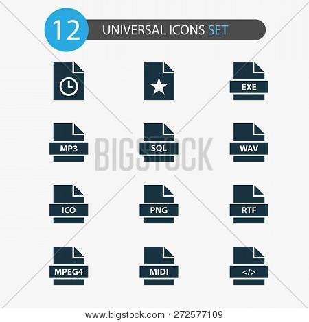 File Icons Set With Code, Wav, Favorite And Other Script Elements. Isolated Vector Illustration File