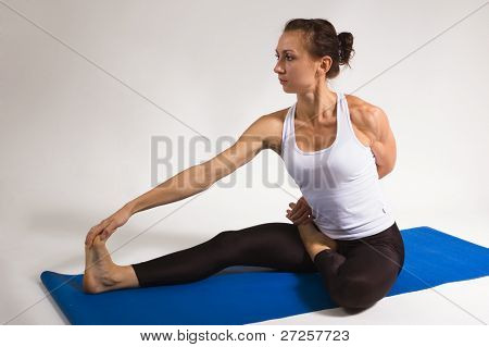 set of young attractive yoga girl doing exercise. 27 of 116 poster