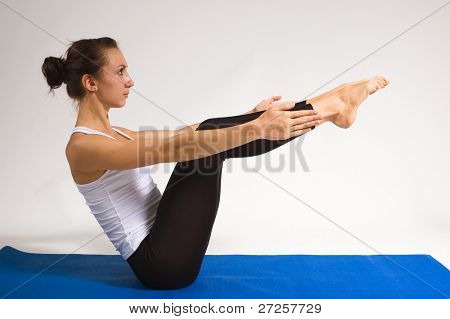 set of young attractive yoga girl doing exercise. 29 of 116 poster