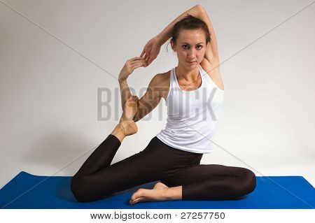 set of young attractive yoga girl doing exercise. 36 of 116 poster