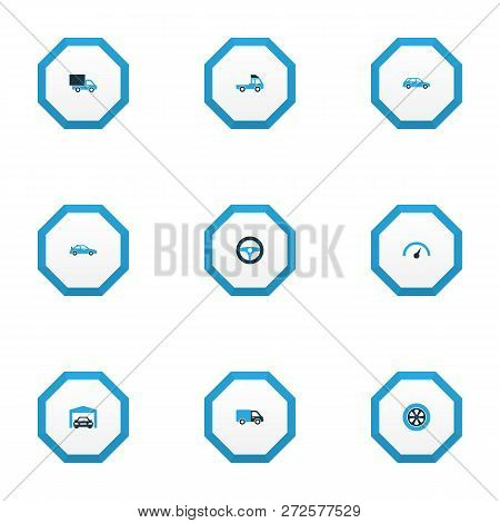 Car Icons Colored Set With Crossover, Lorry, Hatchback And Other Truck Elements. Isolated Vector Ill