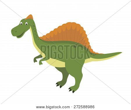 Spinosaurus Vector Illustration In Cartoon Style For Kids. Dinosaurs Collection.