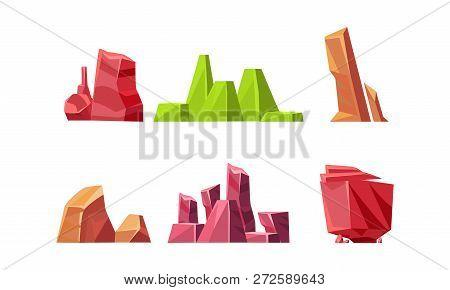 Flat Vector Set Of Colorful Stones Of Different Shapes. Natural Landscape Elements. Solid Rocks