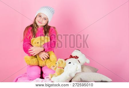 Teddy Bears Improve Psychological Wellbeing. Unique Attachments To Stuffed Animals. Kid Little Girl